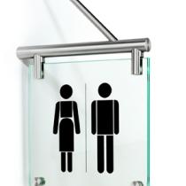 Glasschilder Fahnenschild WC